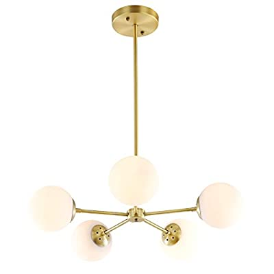 """Light Society Grammercy 5-Light Chandelier Pendant, Brushed Brass with White Frosted Globes, Classic Mid Century Modern Lighting Fixture (LS-C228-BRS-WHI) - Dimensions: Overall 25 Dia x 11 H-55 H inches Globe 5.9 inch Dia. Ceiling Canopy 5.5 inch Dia x 1 inch H ADJUSTABLE HEIGHT: 50""""H fully adjustable rod length (includes one 6"""", one 8"""" and three 12"""" rods). This chandelier is hardwired, installation required BULB REQUIREMENTS: Uses 5 medium-base (E26) light bulbs 60W Max. G16.5 LED recommended (Not included) - kitchen-dining-room-decor, kitchen-dining-room, chandeliers-lighting - 310Ea6nI3BL. SS400  -"""