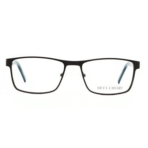 Eyewear Frame Men-OCCI CHIARI-Metal Optical Eyeglasses With Clear Lenses(Deep Teal, - Eyeglasses Optical