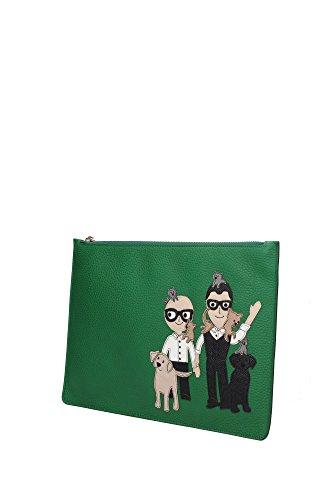 Pochette Dolce&Gabbana Donna Pelle Verde e Multicolore BI2182AB5068H526 Verde 21x31 cm