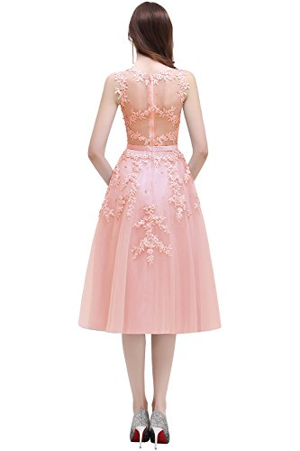 Evening Gowns Tulle Appliques Babyonline Sleeveless Women's Cocktail Pink Short Nude Sq0aRXaw