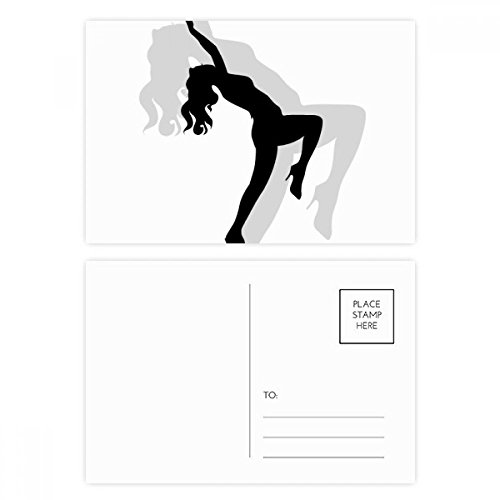 Hot Beautiful Woman Dancing Silhouette Postcard Set Birthday Thanks Card Mailing Side 20pcs by DIYthinker