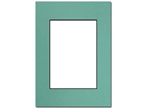 PA Framing, Photo Mat Board, 5 x 7 inches Frame for 3.5 x 5 inches Photo Art Size - Black Core/Aquamarine