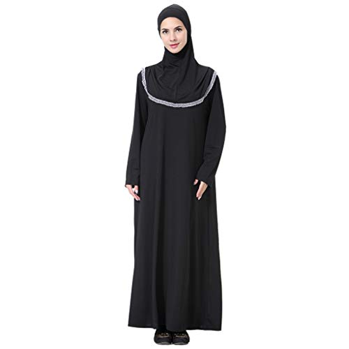 HYIRI Muslim Maxi Dress Women's Trumpet Sleeve Abaya Gowns Tunic Belt Prayer Service Clothing Gray -