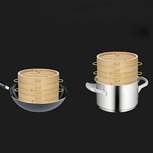 310EeW0lt0L. AC DOITOOL Natural Bamboo Steamer Basket Set with Handle and Lid 20cm Traditional Chinese Steamer Basket Food Steaming Pot for Dumpling Bao Bun Dim Sum     Description 2 pcs Bamboo Steamer Kitchen Round Buns Steamer Cookware Food Steamer Cooking Tools for Restaurant Home