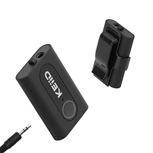 KEiiD Bluetooth Receiver CSR 4.2 Chip with Removable Back Clip, Stream Wireless Stereo Music with Wired Earphones,Car AUX Kit,Speakers.Built-in Microphone for Handsfree Calls.10 Hours Long Play Time
