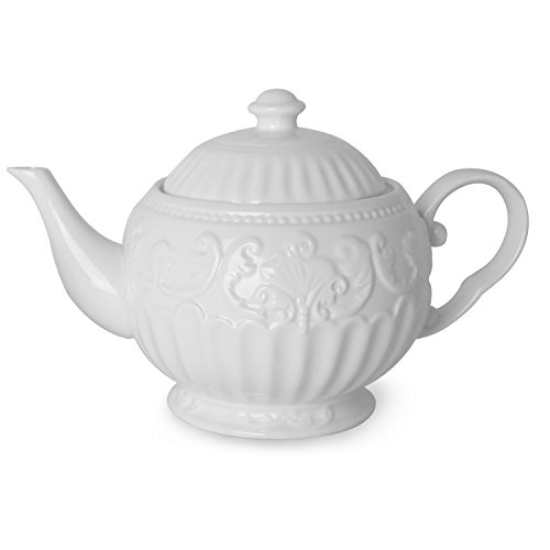 Teapot with Embossed Flower Porcelain Bone China White
