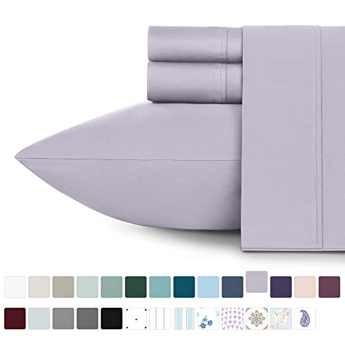 """California Design Den 400-Thread-Count 100% Cotton Sheets for Bed – 4-Piece Lavender Grey Full Size Sheet Set Long-Staple Combed Cotton Bed Sheets Soft Sateen Weave Fits Mattress 16"""" Deep Pocket"""