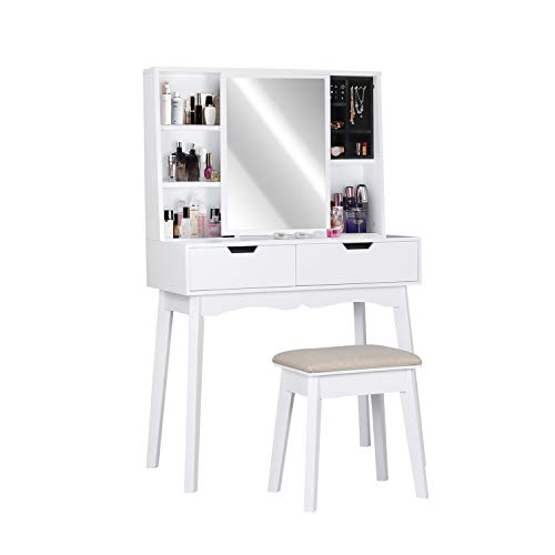 Vanity Table Set with Mirror and Makeup Organizer Dressing Table,2 Large Drawers with Sliding Rails,Storage Shelves,Jewelry Box,Cushioned Stool,Makeup Vanity Desk (White)