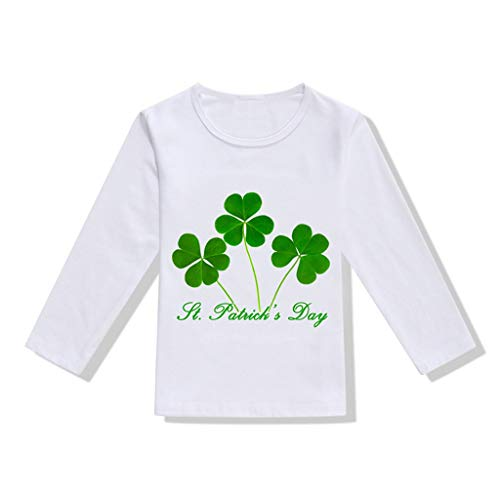 Waymine Toddler Girl Boy Clover Print Irish Day St. Patrick's Day Long Sleeve T-Shirt ()