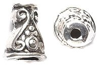 Shipwreck Beads Zinc Alloy Scroll Design Bead Cone/Cap, 7 by 10mm, Silver, 90-Pack (Bead Caps 10mm)