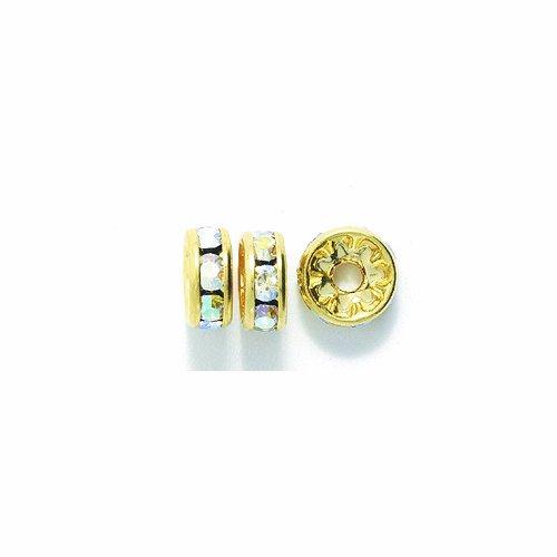 Preciosa Rhinestone Rondelle Beads, 8mm, Crystal Aurora Borealis, 36-Pack