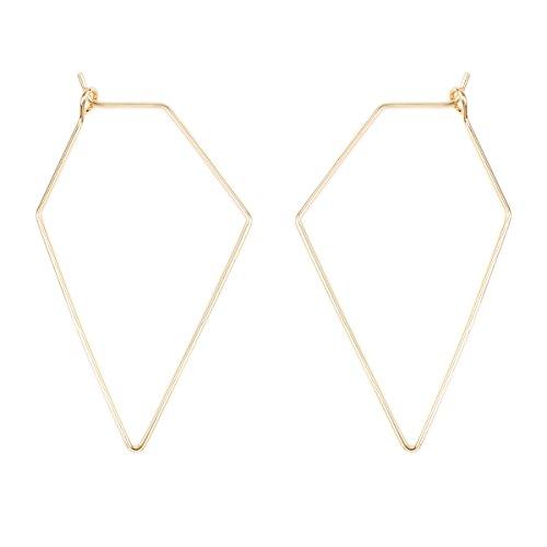 RIAH FASHION Lightweight Geometric Hoop Earrings - Classic Brass Wire Threader Dangles (Rhombus Gold) (Earrings Geometric)