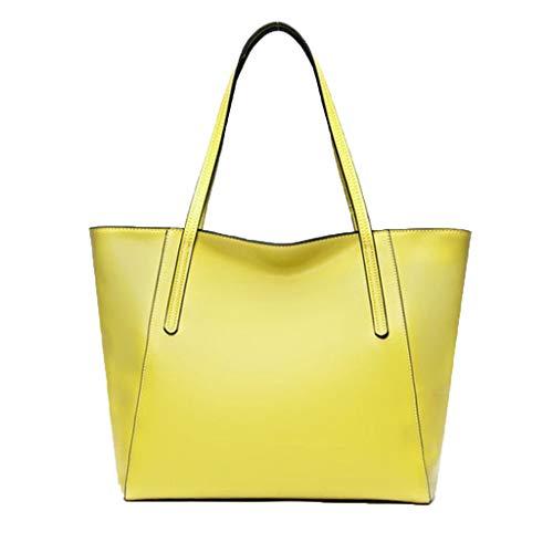 Simple Cuir Sacs Sac De Capacité En À Femmes Main Élégante Bandoulière Yellow Pour Casual Mode Stockage Femme ZHdvqnP