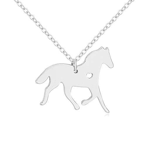 "SENFAI 10K Gold Color Running Horse Charm Necklace 18"" (Silver)"