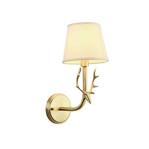(Creative Modern Copper Wall Light Study Hallway Aisle Lights with Cloth Lampshade Living Room Bedroom Decorative Wall Light E14,(20cm40cm))