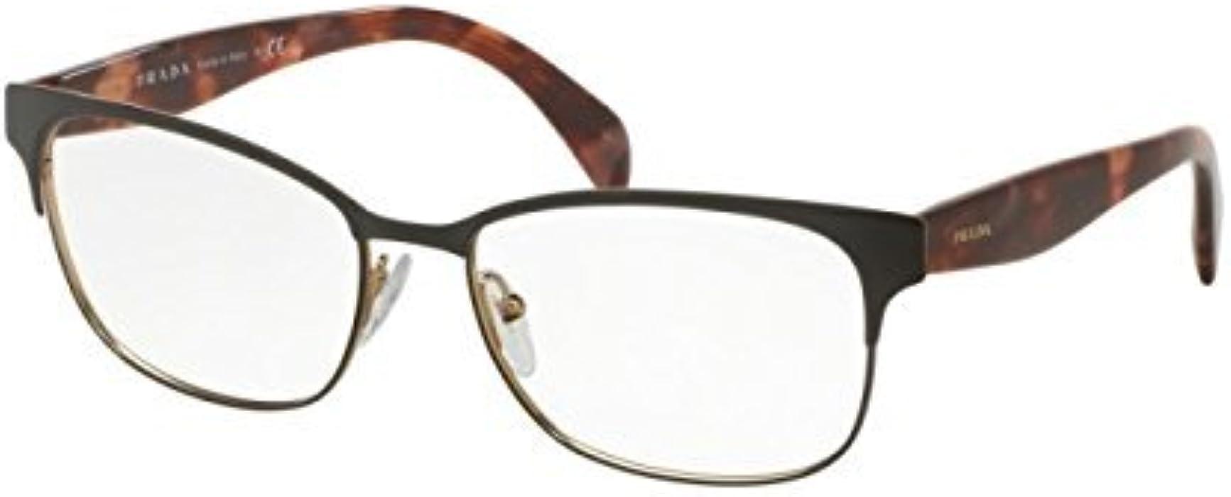 2f58fda5edf4 Prada PR65RV Eyeglass Frames UE01O1-55 - Brown Pale Gold PR65RV-UE01O1-