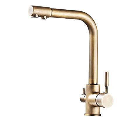 Lovedima Stev Antique Brass Single Handle Kitchen Sink Faucet Mixer Tap With Water Filtering Antique Brass