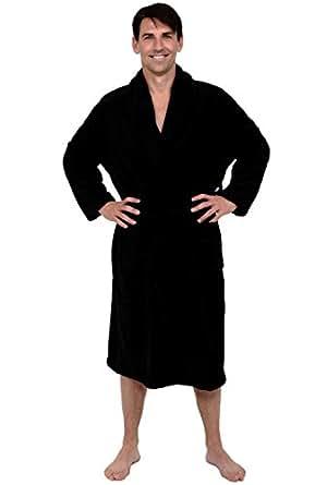 Del Rossa Men's Fleece Robe, Shawl Collar Bathrobe, Small Medium Black (A0114BLKMD)