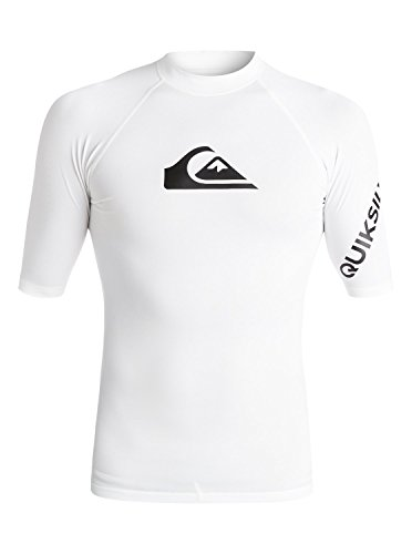's Sportswear Quiksilver Men's All Time Short Sleeve Rashguard Swim Shirt UPF 50+, White, Large ()