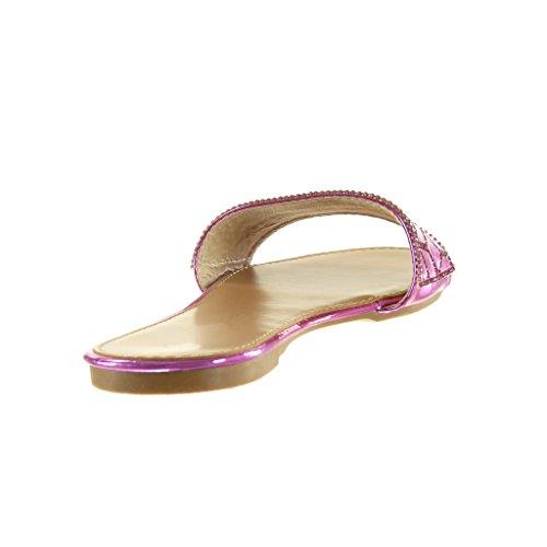 Angkorly Zapatillas de Moda Sandalias Mujer Strass Fantasía Talón Tacón Ancho 1 cm - Fushia