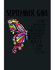 Womens September Girl She Whispered Back I Am The Storm Butterfly: notebook, notebook journal beautiful , simple, impressive,size 6x9 inches, 114 paperback pages