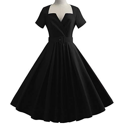 Newkelly Women Short Sleeve Solid Vintage Rockabilly Evening Party Swing Dress -