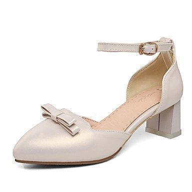 Talones de las mujeres Primavera Verano Otoño Invierno Club de los zapatos de la PU de oficina y carrera del partido y vestido de noche tacón grueso del Bowknot Rosa astilla Beige Silver