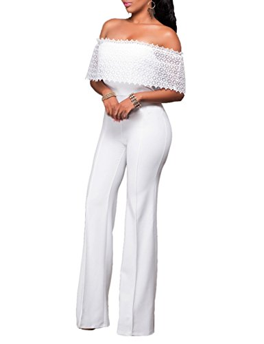KAMA BRIDAL Women's Sexy Off Shoulder High Waist Wide Leg Jumpsuits Pants White XL (Sexy Pants Suits)