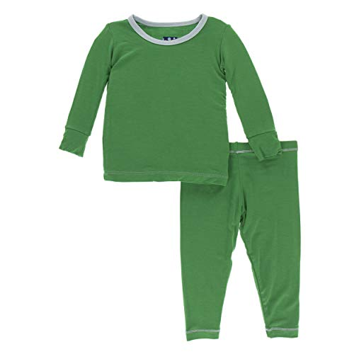 Kickee Pants Little Boys Solid Long Sleeve Pajama Set - Fern with Spring Sky, 8 Years
