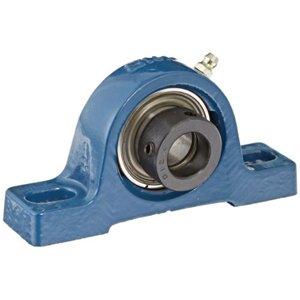 "Peer Bearing UCP206-18 Pillow Block, Standard Shaft Height, Wide Inner Ring, Relubricable, Anti-Rotation Pin, Set Screw Locking Collar, Single Lip Seal, Cast Iron Housing, 1-1/8"" Bore, 1-11/16"" Shaft Height, 4-3/4"" Bolt Center"