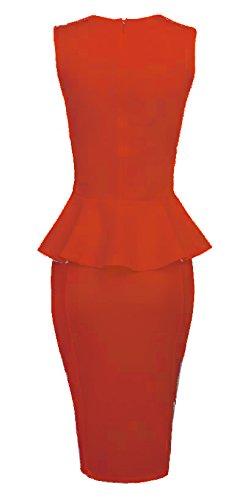 Made2envy Bodycon Midi Peplum Dress with Square Neckline (M, Red) C6150-MR