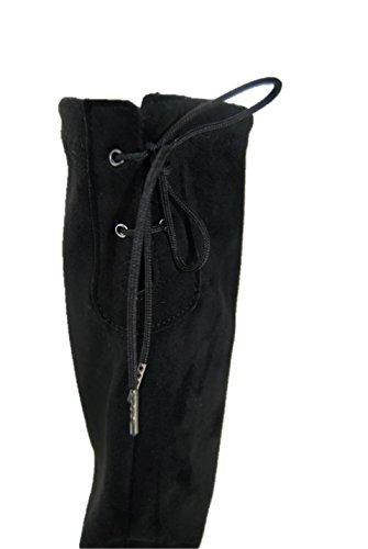 Elasticizzato Blocco Tacco Nero Stivale Scarpe Donna Alto F06qT