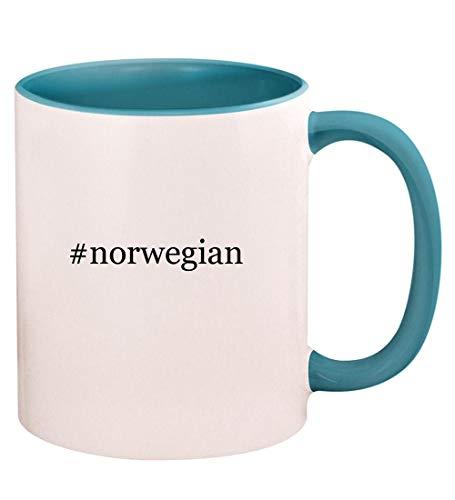 #norwegian - 11oz Hashtag Ceramic Colored Handle and Inside Coffee Mug Cup, Light Blue