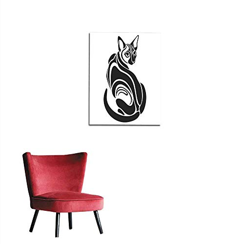 """Art Decor Decals Stickers Egyptian Black cat Dangerous Looking Tattoo Drawing Mural 32""""x48"""""""
