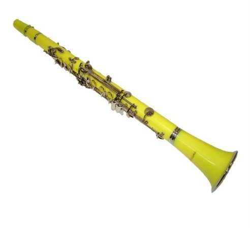 Merano B Flat Yellow / Silver Clarinet with Carrying Case;Mouth Piece; Reed and Cap; Screwdriver; Soft Cleaning Cloth; Cork Grease; A Pair of Gloves by Merano