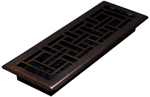 Decor Grates AJH414-RB Oriental Floor Register, Rubbed Bronze, 4-Inch by 14-Inch ()
