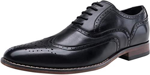 VOSTEY Men's Dress Shoes Classic Wingtip Brogue Men Oxfords (12,Black)
