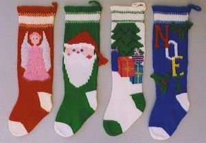 Ann Norling Knitted Christmas Stockings #1018 (Angel, Santa Face, Tree with Presents & Noel)