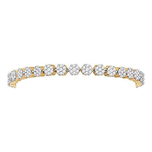 Roy Rose Jewelry 14K Yellow Gold Womens Round Diamond Flower Cluster Tennis Bracelet 4-Carat tw