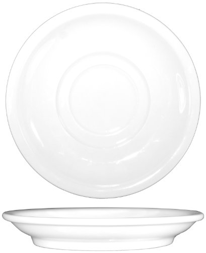 ITI-DO-2 Porcelain Dover 6-Inch Saucer, Double Well, 36-Piece, White (Double Well Saucer)