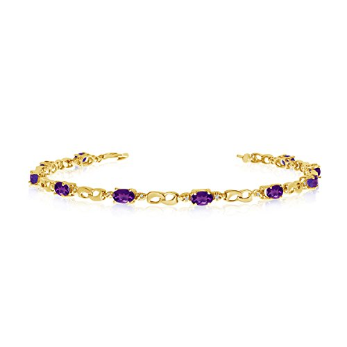 10k Amethyst Bracelet (10K Yellow Gold Oval Amethyst and Diamond Link Bracelet (8 Inch Length))