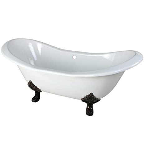 kingston brass aqua eden cast iron double slipper clawfoot bathtub with oil rubbed bronze feet