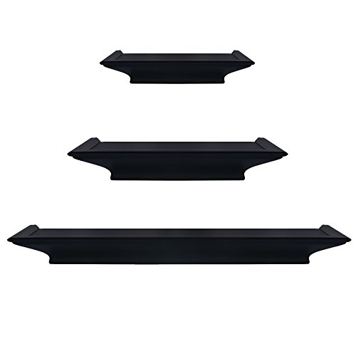 Shelf Diaper Wall (Burnes of Boston Traditional Black 3 Piece Floating Ledge Shelf Set, Includes Built In Level For Simple Installation)