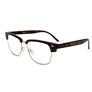 Semi Rimless Metal Clear Bifocal Reading Glasses - Tortoise 3.50