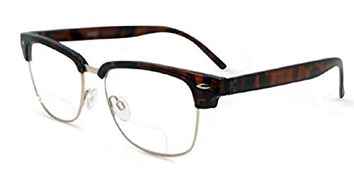 Semi Rimless Metal Clear Bifocal Reading Glasses- Tortoise - Glasses Bridge