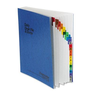 Esselte Expandable Desk File A-Z Index, Letter Size, Acrylic-Coated PressGuard, Blue (ESS11015)