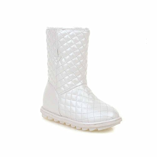 On Mid Kitten Heels Pu AmoonyFashion White Solid Pull Boots Women's Top xqBEgawYP