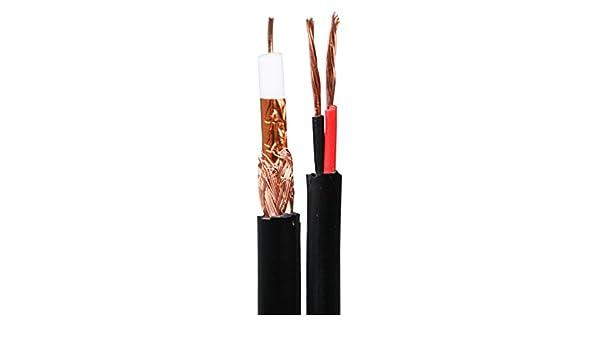Mitsuru Pro 100 m RG59 + 2 C cable de escopeta coaxial para cctv caméra-vidéo + power-100 m/75 Ohm: Amazon.es: Bricolaje y herramientas
