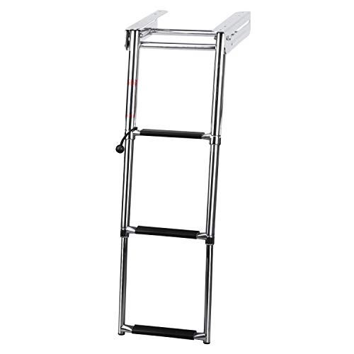 DasMarine 3-Step 316 Stainless Steel Telescoping Ladder, Slide Under Platform Mount Boarding Ladder (3 Step Ladder) ()