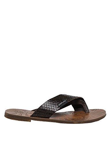 Replay Mens Rami Leather Thong Mens Brown Flip Flops Brown